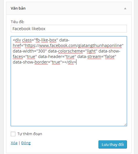 Facebook likebox in widget sidebar wordpress