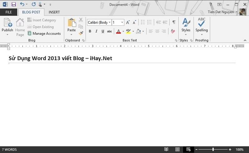 Sử dụng word 2013 viết blog