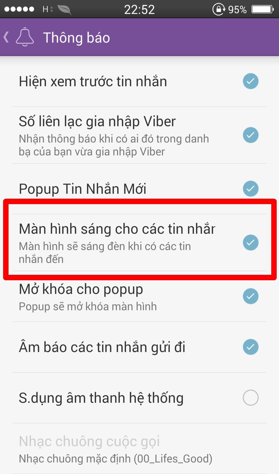 Tắt nhận thông báo của Viber