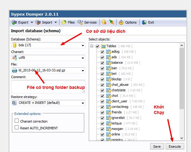 Giao diện Import dữ liệu của SXD