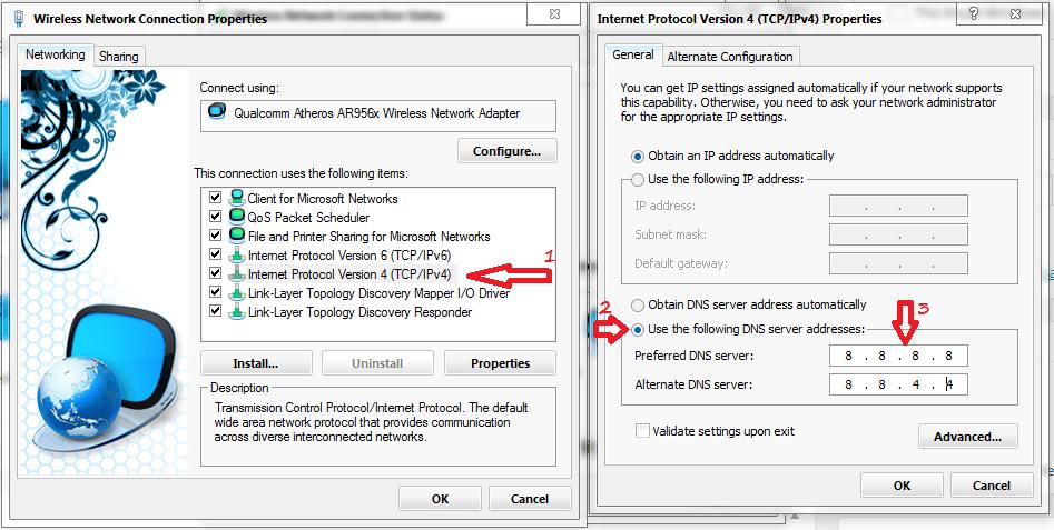 DNS setting ipv4