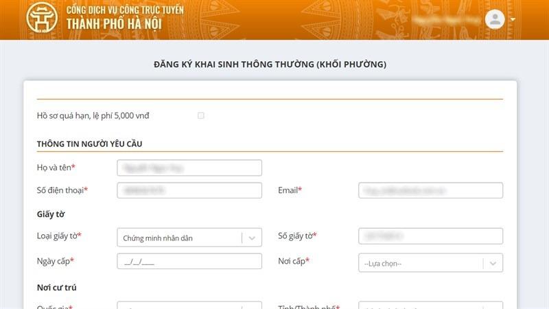Cách đăng ký cấp giấy khai sinh trực tuyến trên điện thoại